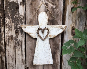 Distressed Wood Angel Wall Hanging with Twig Heart, Rustic Garden Decor, Primitive Country Decor, Patio Wall Art