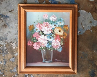Vintage 8x10 Floral Oil Painting by Listed Artist Robert Cox, Framed Original Art of Bouquet Pink Roses