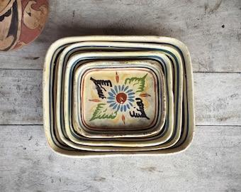 Tonala Nesting Bowls Mexican Pottery Folk Art Rustic Home Decor, Mexican Decor, Tlaquepaque
