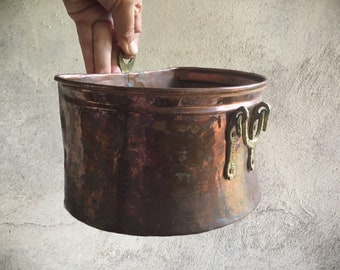 Small Vintage Copper Bin with Brass Handle, Wall Mount Container, Copper Home Decor, Flower Bin