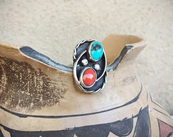 Vintage Size 7 Coral Turquoise Ring for Women, Native American Indian Jewelry, Gift for Her