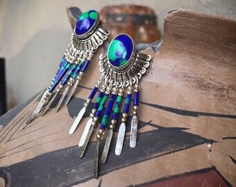Sterling Silver Azurmalachite Dangle Earrings for Women, Boho Hippie Jewelry Fringe Earrings