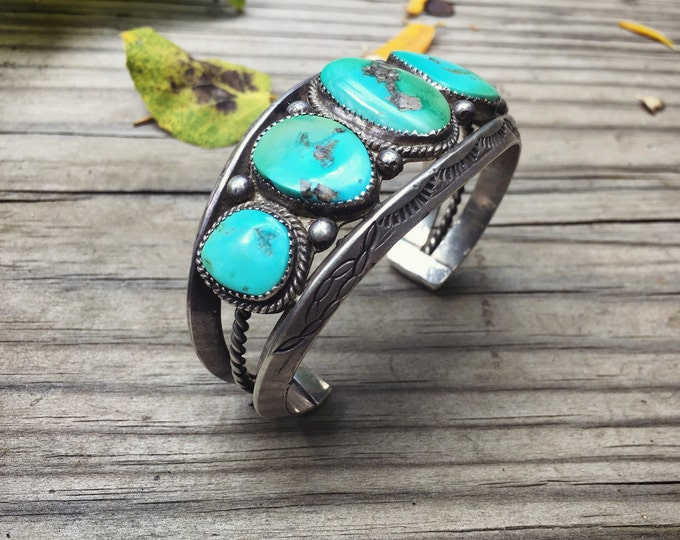Featured listing image: 82gm 1940s Navajo Cuff Bracelet for Men Five Stone Vintage Turquoise Old Pawn, Native American Indian Jewelry