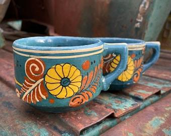 Set of Two 1950s Blue Tlaquepaque Pottery Tea Cups w/ Floral Design, Southwest Rustic decor