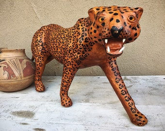 Very Large Folk Art Leather Wrapped Cheetah or Spotted Leopard with Glass Eyes, Big Cat Statue
