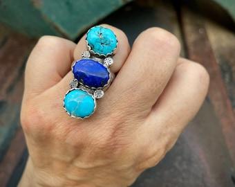 Vintage Lapis Lazuli Turquoise Ring for Women Size 8, Signed Navajo Jewelry Southwestern