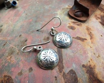 "Native American 1/2"" Sterling Silver Concho Dangle Earrings for Women, Signed Navajo Native American Jewelry"