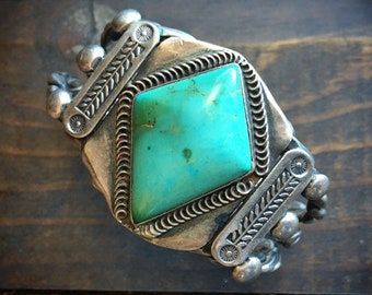 Fred Harvey Era Natural Turquoise Cuff Bracelet for Women Men, Native American Indian Jewelry