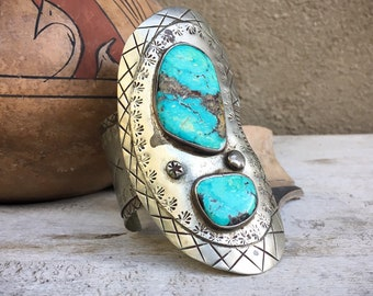170g Natural Turquoise German Silver HUGE Cuff Bracelet, Old Pawn Native American Indian Jewelry