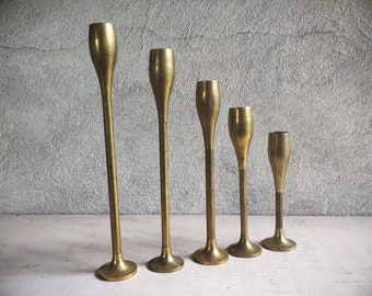 Set of Five Small Brass Candlestick Holders Modern Decor, Five Tapers Candle Holder Set,