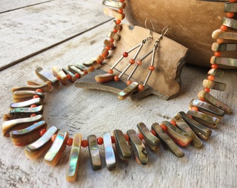 1970s Orange Spiny Oyster Tab Necklace and Earring Set, Chunky Shell Jewelry, Native America Indian