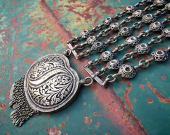Long and Large Old Tribal Silver Necklace from Northern Indian, Nomadic Gypsy Boho Hippie Jewelry