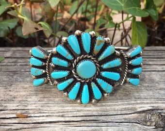 Vintage Petit Point Turquoise Cluster Cuff Bracelet for Woman, Native American Indian Jewelry