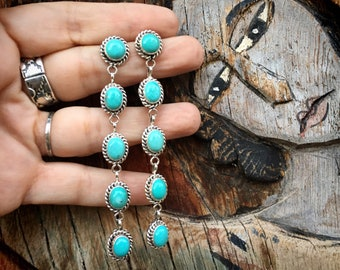 Turquoise Post Shoulder Duster Earrings by Navajo Lucinda Linkin, Navajo Native America Jewelry