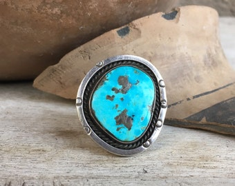 Vintage Morenci Turquoise Ring for Women Size 9, Native American Indian Jewelry, Round Navajo Ring