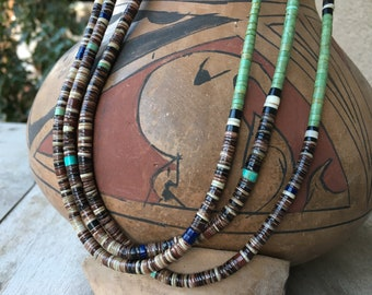 Long Three Strand Vintage Turquoise Heishi Necklace for Women, Santo Domingo Native America Indian Jewelry, Anniversary Gift Wife, Old Pawn