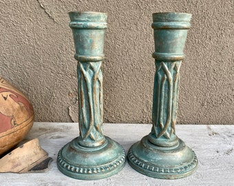 """Pair of 1997 10"""" Tall Painted Wood Candlestick Candle Holders, Organic Modern Rustic Home Decor"""