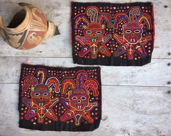 Two Mola Panels Textile Folk Art Fabric Panels Tapestries Applique Quilt Embroidery by Kuna Tribe of Panama