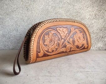 1950s to 1960s Western Clutch Purse Tooled Leather Small Bag, Cowgirl Evening Bag, Mexican Leather Wallet Purse
