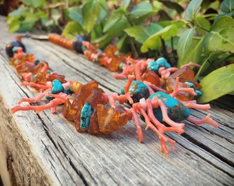 Vintage Turquoise Pink Coral Branch Amber Bead Necklace for Women, Southwestern Jewelry