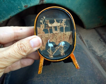 Very Small Vintage Chinese Cork Diorama with Cranes, Birds and Trees in Wood Shadow Box
