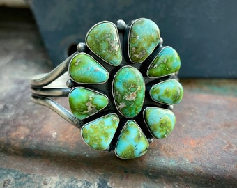 Navajo Mary Ann Spencer Sonoran Gold Turquoise Cluster Bracelet Women, Native American Jewelry