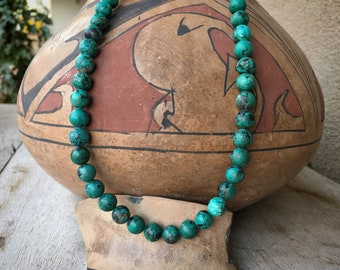 "Round Turquoise Bead and Heishi Necklace 23"" for Women, Native American Indian Jewelry Southwest"