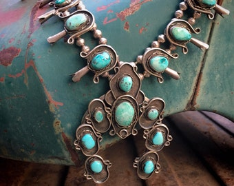 "224gm 24"" Vintage Navajo Natural Turquoise Squash Blossom Necklace, Native American Indian Jewelry"