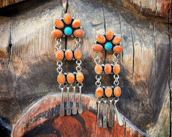 Signed Navajo Chandelier Earrings Spiny Oyster and Turquoise, Southwestern Native American Indian Jewelry