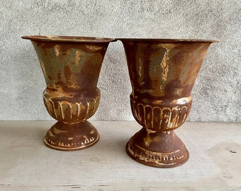 Pair of Rusty Metal Trophy Centerpiece Planters, Old World Decor, Rustic Home Patio Jardiniere