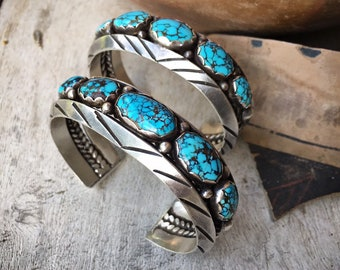Two STUNNING Number Eight #8 Spiderweb Turquoise Cuff Bracelets for Women Attributed to Navajo Fred Thompson