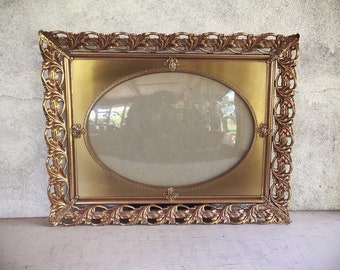 Vintage Gold Tone Picture Frame with Bubble Glass and Ornate Edge for Table or Hanging