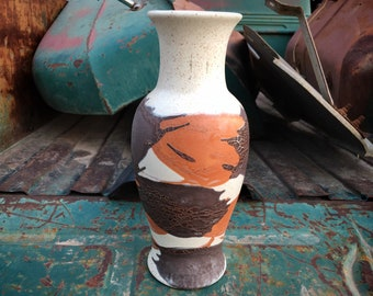 Royal Haeger Pottery Earth Wrap Vase in Orange and Brown, Vintage Ceramics Gift for Organic Home