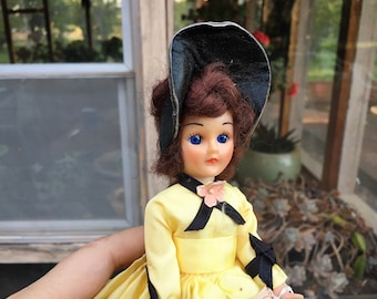 "Vintage ""Early American"" Carlson Doll with Tag in Yellow Dress Black Bonnet, Frontier Pioneer Lady"