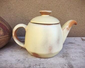 Vintage Frankoma Pottery Teapot Lazybones Desert Gold, Southwestern Home Decor, American Pottery