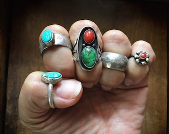 Vintage Boho Rings Sterling Silver Turquoise Jewelry, Native American Indian Coral Baby Ring