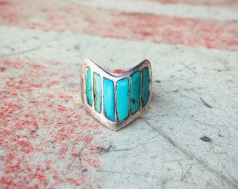 Size 9 Old Pawn Turquoise Channel Inlay Band, Native America Indian Jewelry, Vintage Turquoise Ring