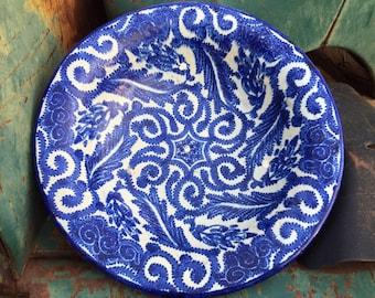 "Vintage 12"" Moorish Pottery Bowl Plate Blue White, Moroccan Decorative Wall Hanging, Rustic Decor"