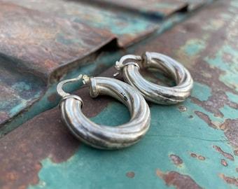 Thick Sterling Silver Hoop Earrings for Women, Versatile Classic Design Short Hair, Birthday Gift for Girlfriend Sister Mother