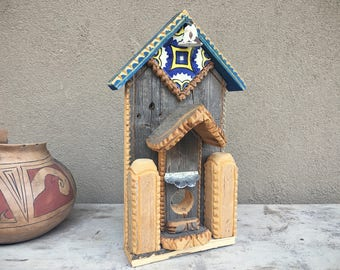 Rustic Folk Art Wall Hanging Wooden House Garden Decor Yard Art