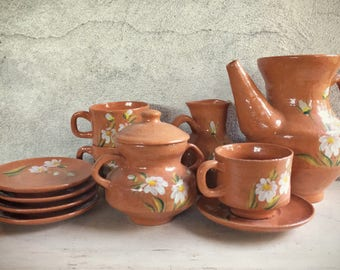 1940s Mexican Pottery Teaset (Partial) Oaxaca Drip Ware, Rustic Kitchen, Tlaquepaque Pottery