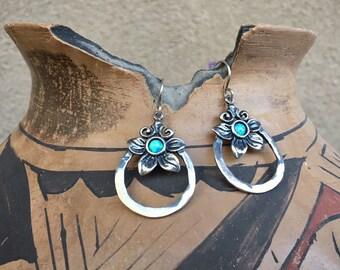 Sterling Silver Hoop Earrings with Opal Stone Flower Design, Bohemian Jewelry, Birthday Gift