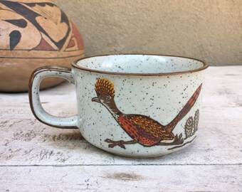 Midcentury Otagiri Japanese Stoneware Wide Roadrunner Mug, Vintage Drinkware