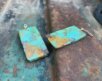 Rectangle Slab Turquoise Dangle Earrings, Santo Domingo Native American Jewelry for Women