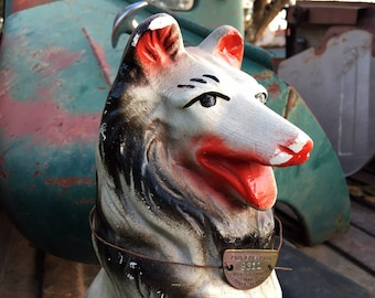 1960s Chalkware Plaster Black White Collie Money Bank Carnival Prize w/ Authentic Dog Tag