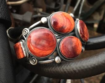 129g Navajo Fred Maloney Sterling Silver Orange Spiny Oyster Cluster Cuff Bracelet for Men or Women