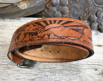 1970s Hand Tooled Leather Belt with Sunset Scene and Removable Brass Buckle, Cowgirl Cowboy Fashion