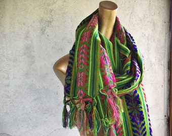 Vintage Green Shawl Mexican Rebozo or Table Runner, Bright Green Decor, Big Woven Scarf
