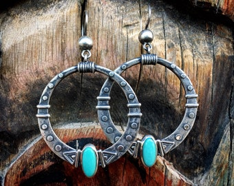 Large Sterling Silver and Turquoise Hoop Earrings for Women, American West Southwestern Jewelry, Round Dangles Bohemian Style, Rodeo Fashion