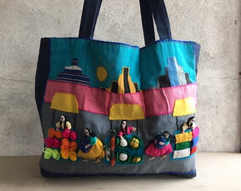 Arpillera Textile Folk Art Tote Bag from Peru Textiles, Applique Quilt Embroidered Fabric Bag